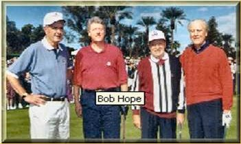 Bob Hope playing golf with presidents Ford, Bush and Clinton